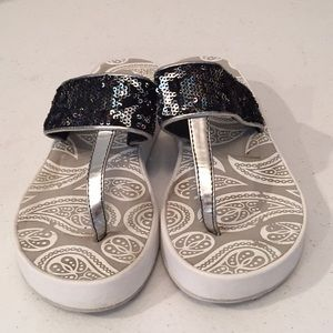 Clarks sequined thongs shoes